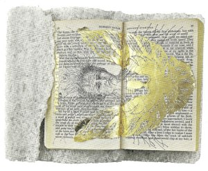 Matthew Barney, Ancient Evenings: Ba Libretto, 2009, Ink, graphite and gold leaf on paperback copy of Ancient Evenings by Norman Mailer, on carved salt base