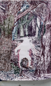Drawing into soft ground using coloured pencils