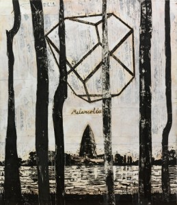Anselm Kiefer, The Rhine (Melancholia) (Der Rhein (Melancholia)), 1982-2013. Collage of woodcut on canvas with acrylic and shellac