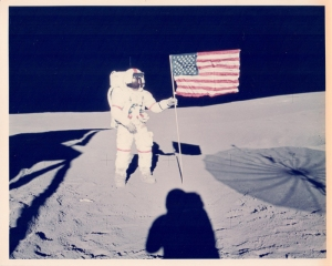 Alan Shepard and the U.S. flag, Apollo 14, February 1971